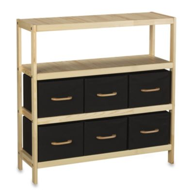 Household Essentials® 3-Shelf Natural Wooden Storage Stand with 6 Black Bins