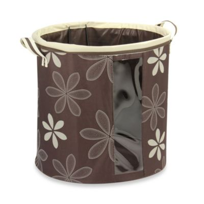 Household Essentials® Collapsible Round Krush® Hamper in Chocolate