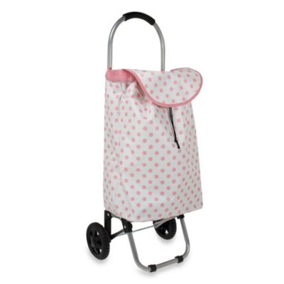 Household Essentials® Small Rolling Shopping Cart in Pnk Dots