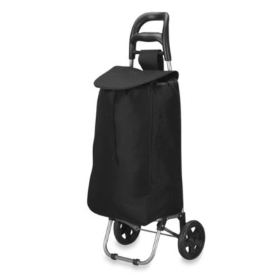 Household Essentials® Medium Rolling Shopping Cart in Black