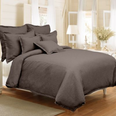 Veratex Gotham Full/Queen 100% Linen Reversible Duvet Cover Set in Java