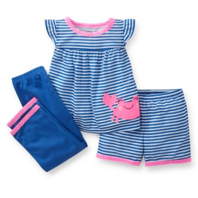 Carter's® Crab 3-Piece PJs Set in Blue/Pink