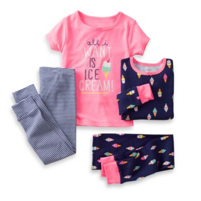 Carter's® Pink All I Want Is Ice Cream 4-Piece Pajama Set