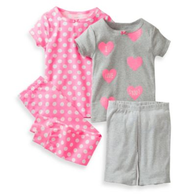 Carter's® Grey Hearts, Polka Dots, and Stripes 4-Piece Pajama Set