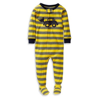 Carter's® Bulldozer PJs in Yellow/Grey Stripes