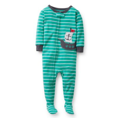 Carter's® Ship PJs in Green Stripe