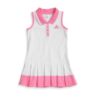 Adidas® Racer Tank Dress in White with Peony Blush