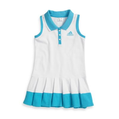 Adidas® Racer Tank Dress in White with Aquarius