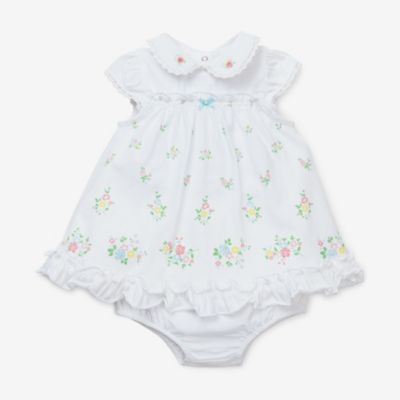 Little Me Garden Dress & Panty Set in White
