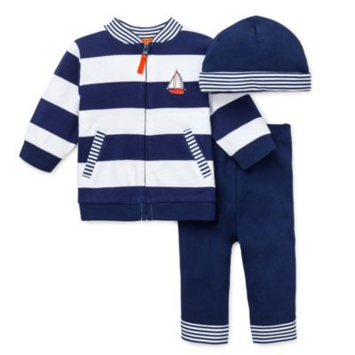 Little Me Sailing 3-Piece Jacket Pants Suit Set with Cap