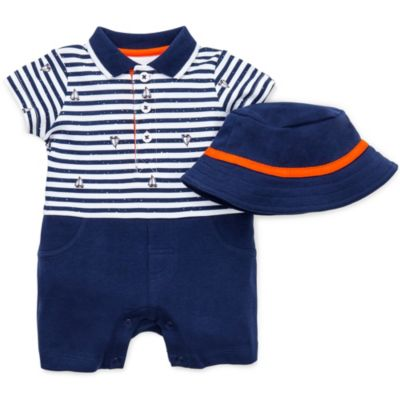 Little Me Striped Sailors Romper with Cap