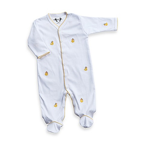 Margery Ellen Baby Duck Embroidered Footie In White