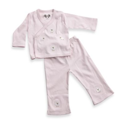Margery Ellen™ Take-Home Long-Sleeve Embroidered Wrap Set in Pink