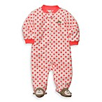 Carter's® Sleep and Play Dot Monkey Preemie 1-Piece Fleece Zip-Up Footie in Coral