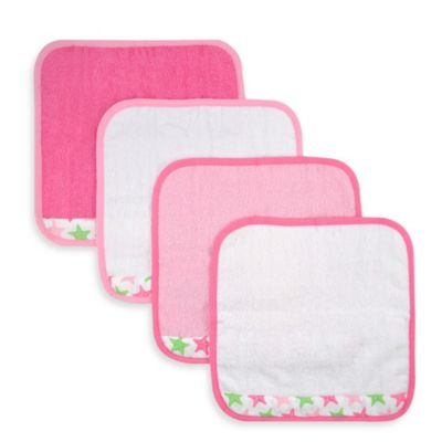 Just Born® Sea Brights Starfish 4-Pack Washcloth Set in Pink