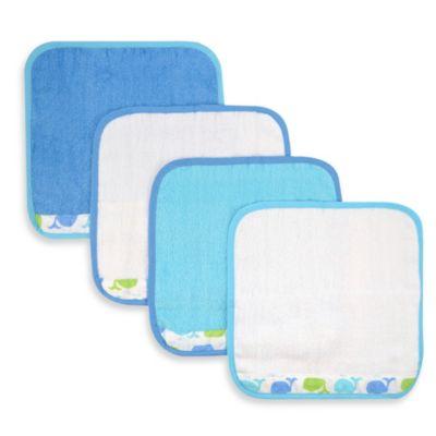 Whale 4-Pack Washcloth Set