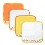 Just Born® Sea Brights Fish 4-Pack Washcloth Set in Yellow/Orange