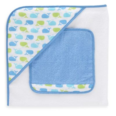 Just Born® Sea Brights Whale Hooded Towel and Washcloth Set in Blue