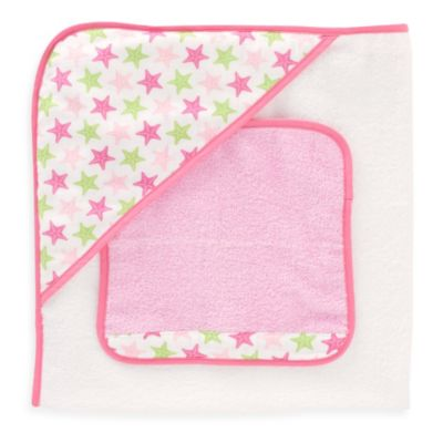Just Born® Sea Brights Starfish Hooded Towel and Washcloth Set in Pink