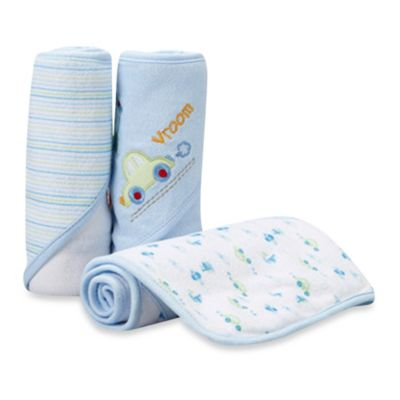 Spasilk™ Airplane 3-Pack Hooded Towel Set in Blue