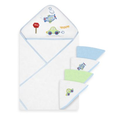 Spasilk™ Airplane and Car Hooded Towel and 4-Pack Washcloth Set in Blue