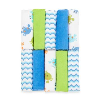 Just Bath™ by Just Born® Love to Bathe 10-Pack Knit Washcloth in Crab/Blue and Green