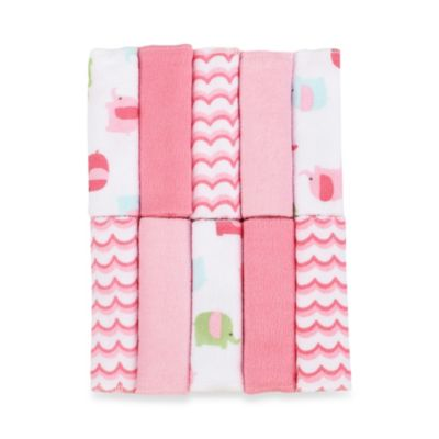 Just Bath™ by Just Born® Love to Bathe 10-Pack Knit Washcloth in Elephant/Pink and White