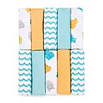 Just Bath™ by Just Born® Love to Bathe 10-Pack Knit Washcloth in Hippo/Aqua and Orange
