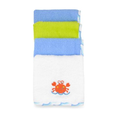 Just Bath by Just Born™ Love to Bathe 4-Pack Woven Washcloth in Crab/Multicolor