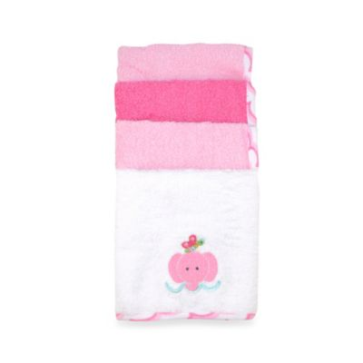 Just Bath by Just Born™ Love to Bathe 4-Pack Woven Washcloth in Elephant/Multicolor