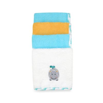 Just Bath by Just Born™ Love to Bathe 4-Pack Woven Washcloth in Hippo/Multicolor
