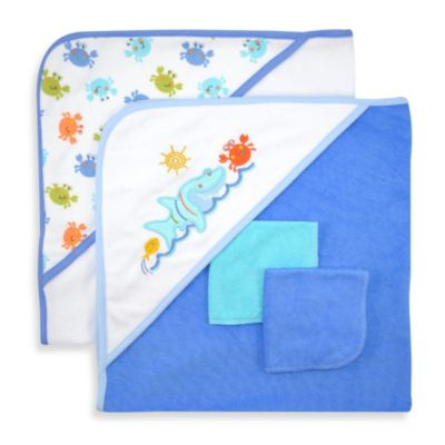 Bath Towels > Just Bath by Just Born™ Love to Bathe 4-Piece Knit Hooded Towel & Washcloth Set in Blue