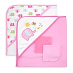 Just Bath™ by Just Born® Love to Bathe 4-Piece Knit Hooded Towel & Washcloth Set in Pink