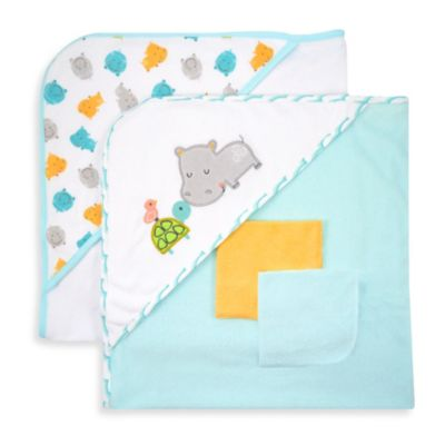 Just Bath™ Just Born® Love to Bathe 4-Piece Knit Hooded Towel & Washcloth Set in Aqua