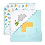 Just Bath by Just Born™ Love to Bathe 4-Piece Knit Hooded Towel & Washcloth Set in Aqua