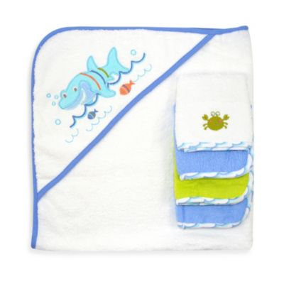 Just Bath by Just Born™ Love to Bathe 5-Piece Woven Hooded Towel & Washcloth Set in Blue