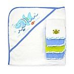 Just Bath™ Just Born® Love to Bathe 5-Piece Woven Hooded Towel & Washcloth Set in Blue