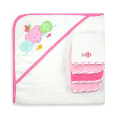 Just Bath™ Just Born® Love to Bathe 5-Piece Woven Hooded Towel & Washcloth Set in Pink