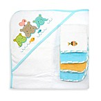 Just Bath™ Just Born® Love to Bathe 5-Piece Woven Hooded Towel & Washcloth Set in Aqua