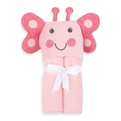 Just Bath™ by Just Born® Love to Bathe Woven Butterfly Hooded Towel in Pink