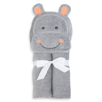 Just Bath™ by Just Born® Love to Bathe Woven Hippo Hooded Towel in Grey