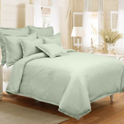 Veratex Gotham Full/Queen 100% Linen Reversible Duvet Cover Set in Sage