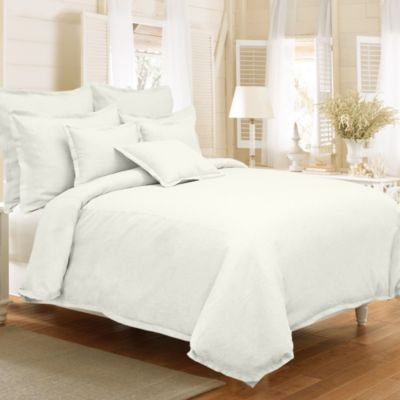 Veratex Gotham Full/Queen 100% Linen Reversible Duvet Cover Set in Pearl