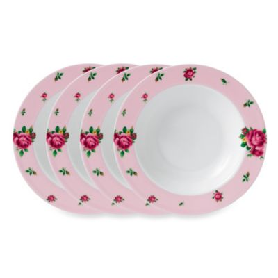 Royal Albert New Country Roses Casual Pink 9.4-Inch Rimmed Soup Bowls (Set of 4)