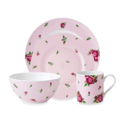Royal Albert New Country Roses Casual 4-Piece Place Setting in Pink