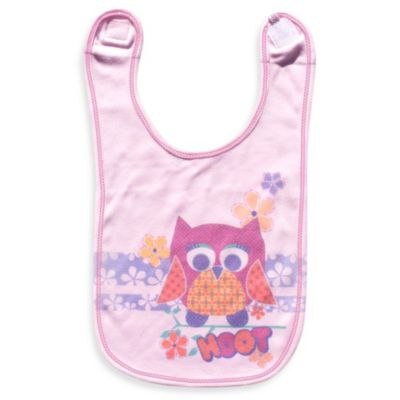 Clever Birds® Pink Owl Patchwork Animals Reversible Bib