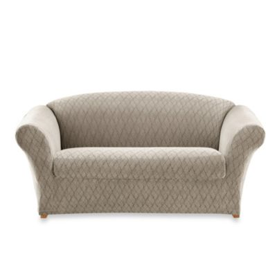 Sure Fit® Stretch Braid Separate Seat Loveseat Slipcover in Pebble