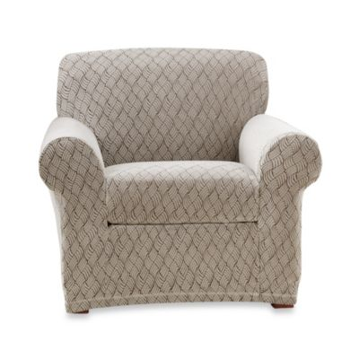 Sure Fit® Stretch Braid Separate Seat Chair Slipcover in Pebble