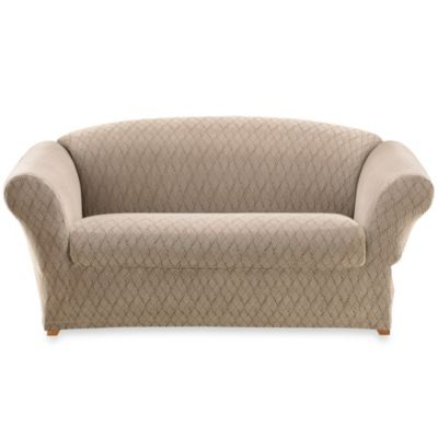 Sure Fit® Stretch Braid Loveseat Slipcover in Camel