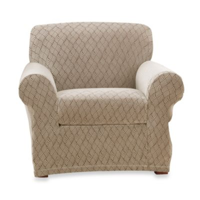 Sure Fit® Stretch Braid Chair Slipcover in Camel